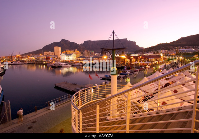 south africa cape town Victoria Albert waterfront sunset table mountain stairs - Stock Image