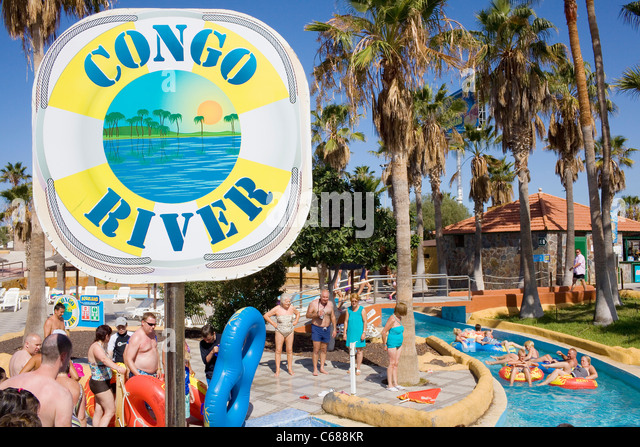 Congo River at Aqualand water park in Tenerife, Spain. - Stock-Bilder
