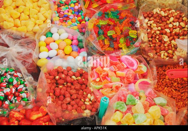 Candy on handcart in Barra de Navidad Jalisco Mexico - Stock Image