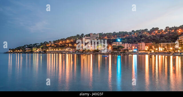 Cap Martin  at twilight, Roquebrune-Cap-Martin, Cote d Azur, France - Stock Image