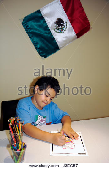 Miami Florida Miami Art Central Festival Mexico Miami boy child drawing flag event Mexican heritage celebration - Stock Image