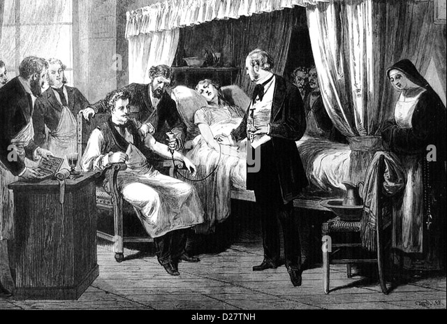 BLOOD TRANSFUSION at the Hopital de la Pitie, Paris, in 1874 - Stock-Bilder
