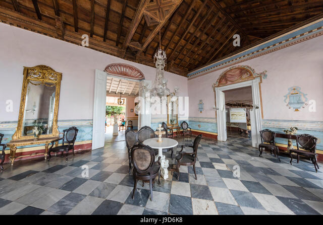 Interior view of the Museo de Arquitectura Colonial in the town of Trinidad, UNESCO, Cuba, West Indies, Caribbean - Stock-Bilder