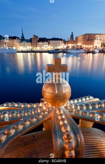 Stadsholmen Island and Gamla Stan from Skeppsholmen Bridge, Stockholm, Sweden - Stock Image