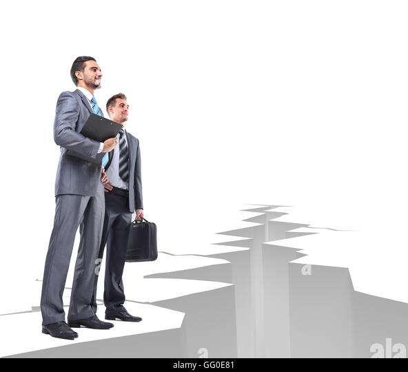 Business men overcome obstacles - Stock Image
