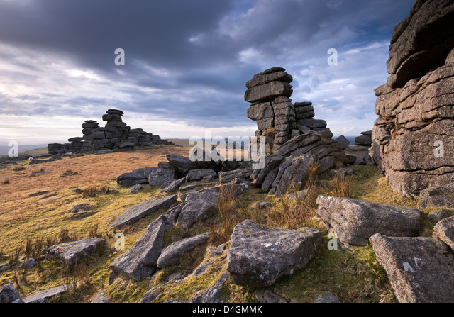 Winter afternoon light at Great Staple Tor, Dartmoor, Devon, England. Winter (March) 2013. - Stock Image