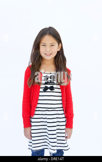 Portrait of young girl in front of white background - Stock-Bilder
