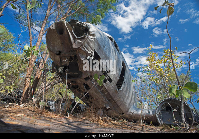 Wreck of a Douglas C-47 Skytrain, lying on the edge of a salt pan, Vansittart Bay, Western Australia.  The C-47 - Stock Image