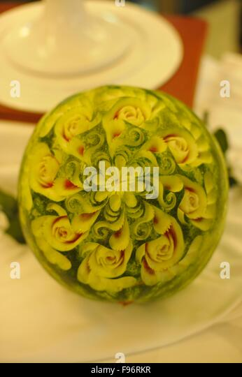 Artistically  carved water melon - Stock-Bilder
