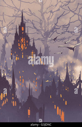 fantasy city,fairy town with big trees,landscape illustration - Stock-Bilder