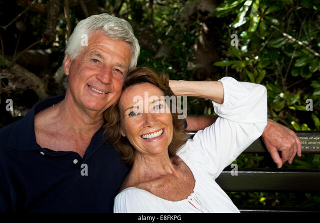 Cape Town, South Africa South Africa, Senior Couple Walking In Garden - Stock Image