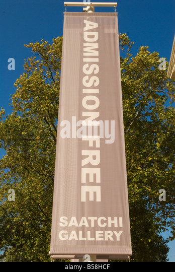 The Saatchi art Gallery The Duke of York Headquarters Chelsea London UK 2008 . Free admission sign - Stock Image