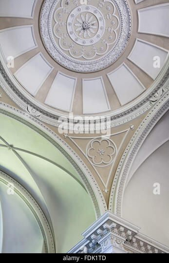 The domed ceiling of the Palladian Chapel, begun in 1760 to the design of James Paine, at Gibside, Newcastle upon - Stock-Bilder