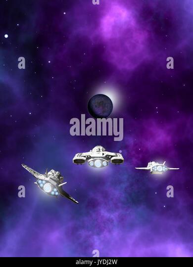 Fleet of Spaceships Approaching a Planetary Nebula - Stock Image