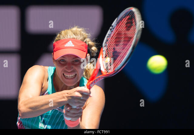 Melbourne, Australia. 25th Jan, 2016. Angelique Kerber of Germany returns the ball during her women's singles - Stock-Bilder
