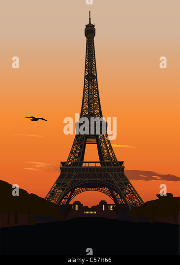 Vector illustration of Eiffel tower at sunset. Paris, France - Stock Image