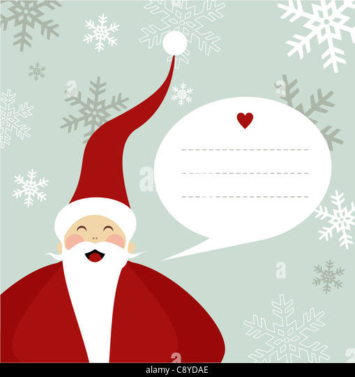 Santa Claus illustration with dialogue balloon on snowy background. Vector file available. - Stock Image