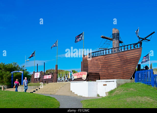 Pirate-themed crazy golf at Mabelthorpe, Lincolnshire, England UK - Stock Image