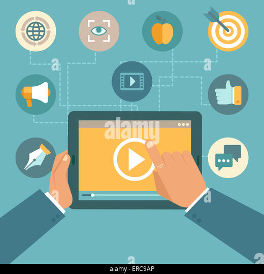 Video marketing concept in flat style - video player on the screen of tablet pc - infographics design element - Stock Image