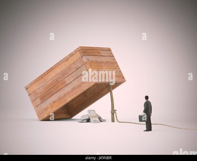 Businessman stranding next to a trap with money -3d illustration - Stock-Bilder