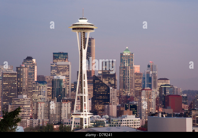View seattle skyline night in stock photos view seattle for 7 salon downtown seattle