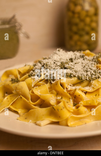 Pesto pasta - Stock Image