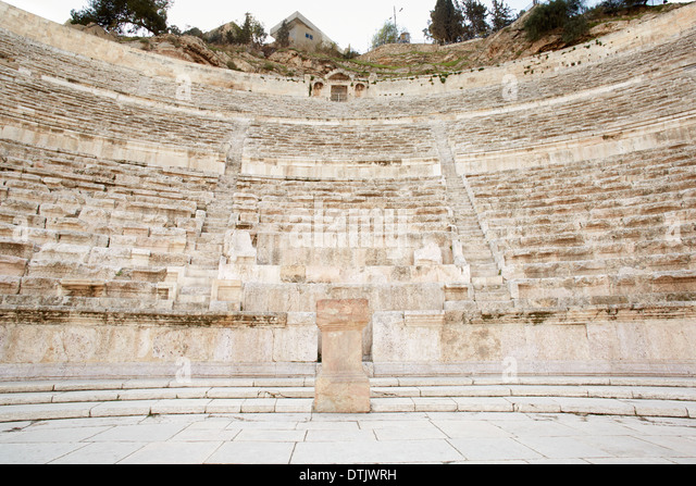 Ancient roman theater in Amman, Jordan - Stock Image