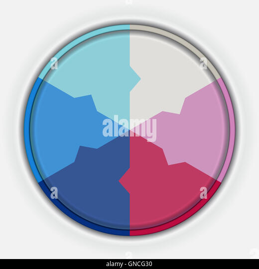 Template Infographic multi-coloured circle for six options. - Stock Image