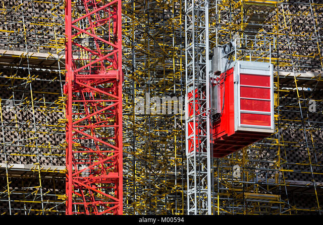 Scaffolding and building works outside the Tate Modern Boiler House, London, England, United Kingdom - Stock Image