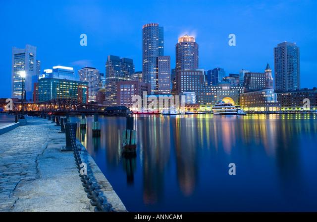 USA Boston Massachusetts Boston financial skyline viewed from the inner harbour - Stock Image