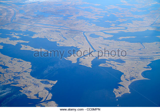 New Orleans Louisiana Mississippi River Delta Lake Eloi aerial American Airlines Miami to New Orleans flight topography - Stock Image