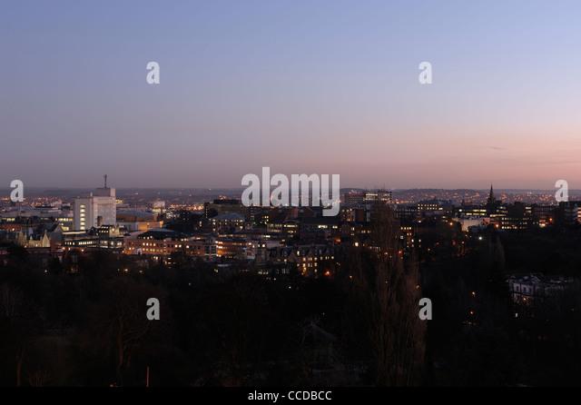 Nottingham panoramic skyline at dusk - Stock Image