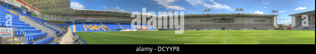Panorama of the Warrington Wolves Halliwell Jones stadium, venue for the 2013 rugby world cup. - Stock Image