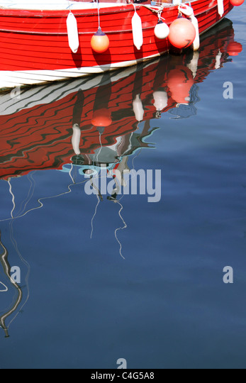 boat with floats and buoys - Stock-Bilder