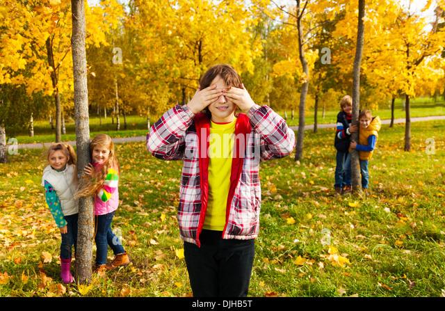 Hide Seek Kids: Hide And Seek With Friends Stock Photos & Hide And Seek