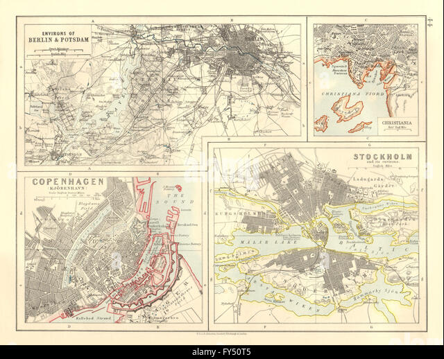 EUROPEAN CITIES. Berlin Copenhagen Stockholm Christiania/Oslo. JOHNSTON 1906 map - Stock Image