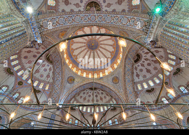 Decorated ceiling at Sultan Ahmed Mosque (Blue Mosque) showing intersection of the four main domes of the ceiling, - Stock Image
