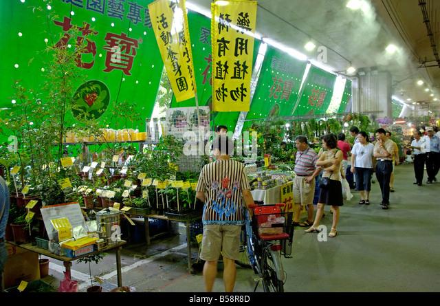 Jian Guo Holiday flower and jade market, Taipei, Taiwan, Republic of China - Stock Image