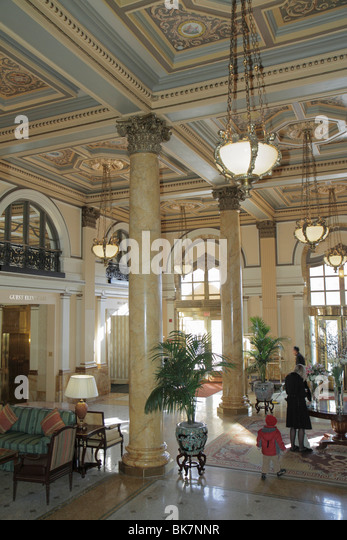 Washington DC Pennsylvania Avenue The Willard Intercontinental Hotel luxury historic hotel landmark Beaux Arts lobby - Stock Image