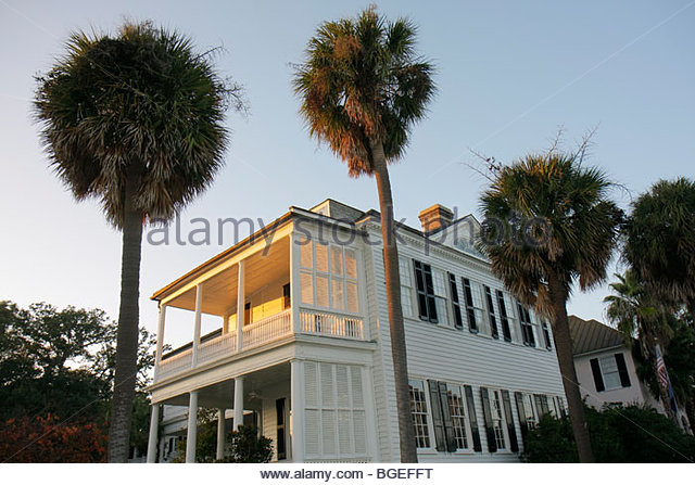 Charleston South Carolina National Historic Landmark Historic District preservation The Battery East Battery house - Stock Image