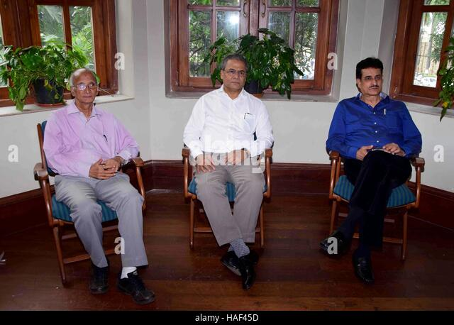 Maharashtra Badminton Association office bearers Arun Lakhani President and Pradeep Gandhe press conference Mumbai - Stock Image