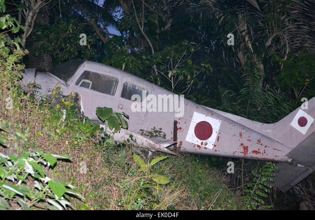 DAVAO - PHILIPPINES: Wreckage of a Japanese aircraft from the first world war found in the forest of Davao city - Stock Image
