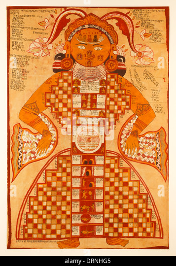 Jain Purushkara Yantra, cosmic figure gouache on silk from Rajasthan India circa 1780 showing Jambudvipa the heavens - Stock Image