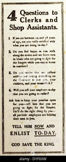 British enlistment propaganda from the First World War. - Stock Image