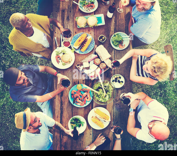 Friends Friendship Outdoor Dining People Concept - Stock Image