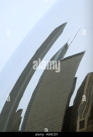 Distorted reflection of highrises - Stock Image