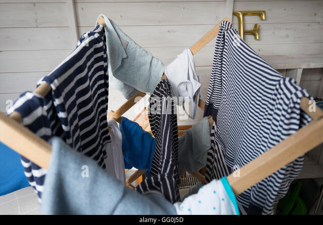 Blue Clothes Dryer ~ Airer stock photos images alamy