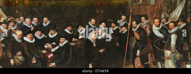 Reception of the civic guard at the Saint Sebastian range by the municipality of The Hague, 1618. Artist: Ravesteyn, - Stock Image