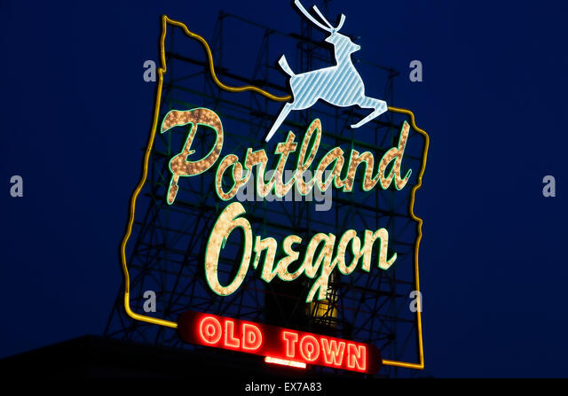'Portland Oregon Old Town' neon sign, Portland, Oregon USA - Stock Image