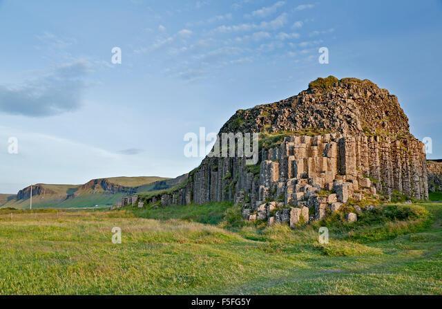 Columnar basalt outcrop, Dverghamrar (Dwarf Cliffs), near Foss, Iceland - Stock-Bilder